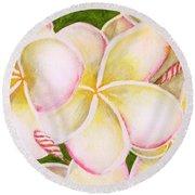 Hawaiian Tropical Plumeria Flower #483 Round Beach Towel