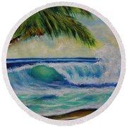 Hawaiian Tropical Wave Art Print Painting #424 Round Beach Towel