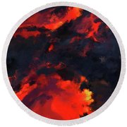 Hawaiian Volcano Lava Flow Round Beach Towel