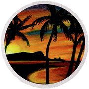 Hawaiian Waikiki Sunrise Over Diamond Head  #266 Round Beach Towel