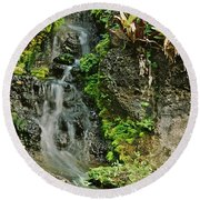 Hawaiian Waterfall Round Beach Towel
