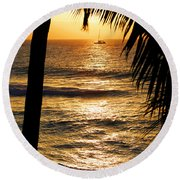 Hawaiin Sunset Round Beach Towel