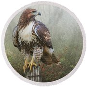 Hawk And Barbed Wire Round Beach Towel
