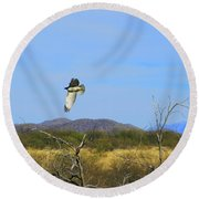 Hawk In Flight Over The Desert Round Beach Towel