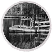 Hawk Island Michigan Dock  Round Beach Towel