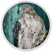 Hawk Round Beach Towel by Maria Langgle