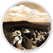 Hawk Mountain In Sepia Round Beach Towel