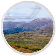Hawk Soaring Over Guanella Pass In The Arapahoe National Forest Round Beach Towel