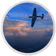 Hawker Hurricane On Dawn Patrol Round Beach Towel