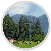 Hay Bales And A Barn - Kalispell Montana Round Beach Towel