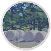 Hay Bales And Crows Round Beach Towel