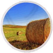 Hay Bales Round Beach Towel by Dominic Piperata