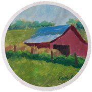 Hay Bales In Morning Light Round Beach Towel