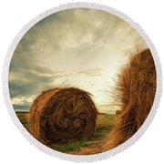 Hay Bales On Farm Field Round Beach Towel