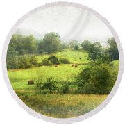 Hay Fields Round Beach Towel
