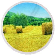 Hay Harvest In Tuscany Round Beach Towel