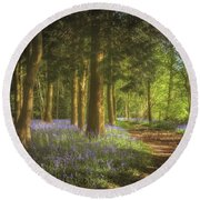 Hay Wood Bluebells 3 Round Beach Towel