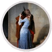 Hayez, The Kiss Round Beach Towel