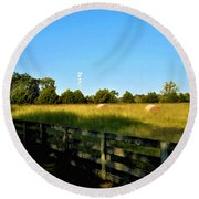 Hayfield With Distant Cell Tower Round Beach Towel