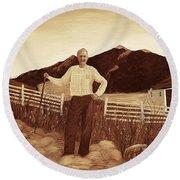 Haymaker With Pitchfork Vintage Round Beach Towel