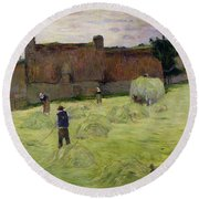 Haymaking In Brittany Round Beach Towel