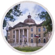 Hays County Courthouse Round Beach Towel