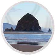 Haystack At Cannon Beach In June Round Beach Towel