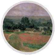 Haystack At Giverny Round Beach Towel
