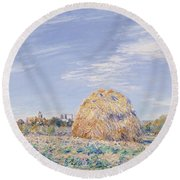 Haystack On The Banks Of The Loing Round Beach Towel