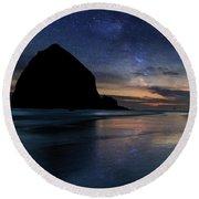 Haystack Rock Under Starry Night Sky Round Beach Towel