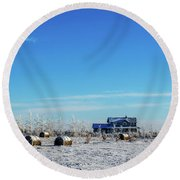 Haystacks In The Snow Before The Sunset Date Round Beach Towel