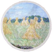 Haystacks The Young Ladies Of Giverny Sun Effect Round Beach Towel