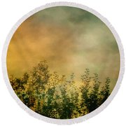 Haze On Moonlit Meadow Round Beach Towel