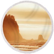 Hazy Beach  Round Beach Towel