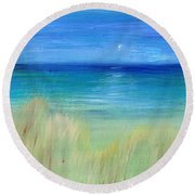 Hazy Beach Mini Oil On Masonite Round Beach Towel