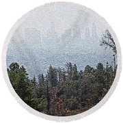 Hazy L.a. Round Beach Towel