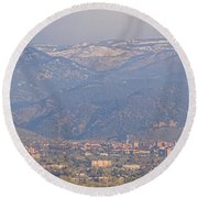Hazy Low Cloud Morning Boulder Colorado University Scenic View  Round Beach Towel by James BO  Insogna