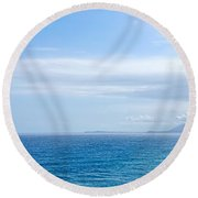 Hazy Ocean View Round Beach Towel