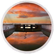 Hdr Sunset Over Harbor And Graffiti Round Beach Towel