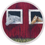 He And She Round Beach Towel by Kathryn Riley Parker