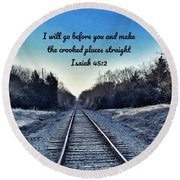 He Goes Before Us Round Beach Towel