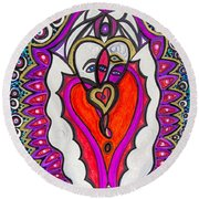 He She Heart Round Beach Towel