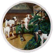 He Who Pays The Piper Calls The Tune Round Beach Towel by John Hayes