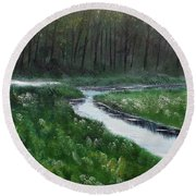 Head For The Forest Round Beach Towel