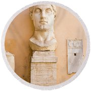 Head From The Statue Of Constantine, Rome, Italy Round Beach Towel