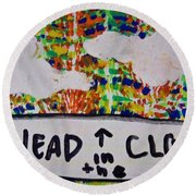 Head In The Clouds Round Beach Towel