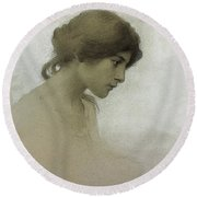 Head Of A Girl  Round Beach Towel by Franz Dvorak