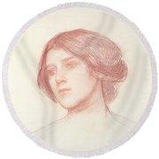 Head Of A Girl Round Beach Towel by John William Waterhouse