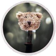 Head Of A Teddy Round Beach Towel by Joana Kruse
