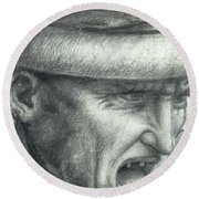 Head Of A Warrior, Copy Of A Detail From The Battle Of Anghiari Round Beach Towel